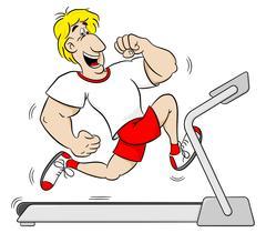 Overweight man jogging on a treadmill Stock Illustration