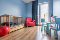 Simple style blue baby room idea Stock Photos