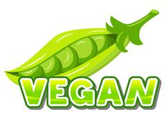Lettering vegan in front of peas Stock Illustration