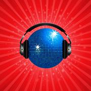 Blue disco ball and headphone on red background Stock Illustration