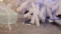 Winter Holidays, Celebration and People Concept - Child Putting a Gift Under The Stock Footage