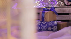 Christmas gifts under the Christmas tree Stock Footage