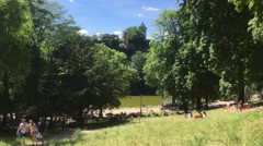 Famous Parc Des Buttes Chaumont In Paris, 4k Stock Footage