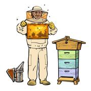 Beekeeper in protective gear holding honeycomb and smoker Stock Illustration