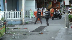 Hua Hin Bombing crime Scene Monk  Stock Footage