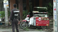 Hua Hin Bombing Polie Guard Crime Scene Stock Footage