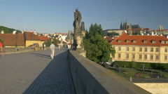 Pan to the Vltava River from Prague Castle. Stock Footage