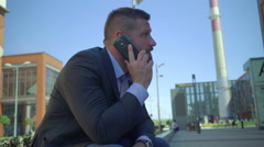 Businessman calls on the smartphone. Stock Footage