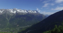 Massif des Aiguilles Rouges, panorama from the Train du Montenvers. Stock Footage