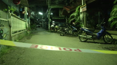 Hua Hin Bombing Crime Scene Police Tape Stock Footage