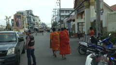 Hua Hin Bombing Monks Escorted Stock Footage