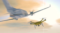 Drone and a small aircraft avoiding collision, 3D animation Stock Footage