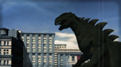 Vintage Kaiju Movie: Attack of the Monster (Color Version) Stock Footage