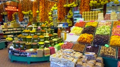 Dry fruits and nuts shop panning Stock Footage