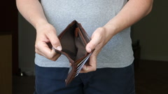 Casual Man Removes Wallet With No Money Stock Footage