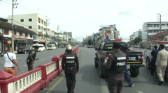 Hua Hin Bombing Police Fall Back Stock Footage
