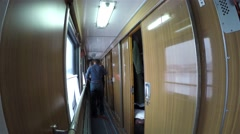 Sleeping car of a passenger train. Stock Footage
