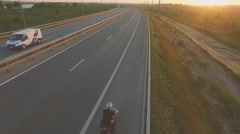 Motorcycle on a highway Stock Footage