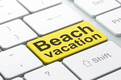 Travel concept: Beach Vacation on computer keyboard background - stock illustration