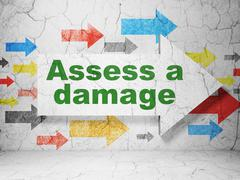 Insurance concept: arrow with Assess A Damage on grunge wall background - stock illustration