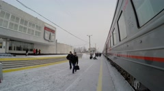 Railway station of the Pyt-Yakh town at winter. Yugra, Russia Stock Footage