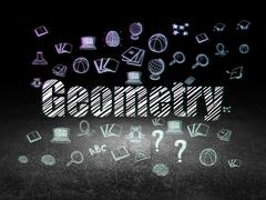 Studying concept: Geometry in grunge dark room - stock illustration