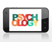 Healthcare concept: Smartphone with Psychology on  display - stock illustration