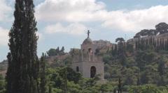 Chapel in Jerusalem with Israeli flag Stock Footage