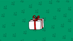 Cute dog in a box. Bithday present hand drawn cartoon animation Stock Footage