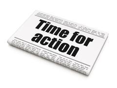 Timeline concept: newspaper headline Time For Action Stock Illustration