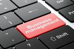 Finance concept: Business Management on computer keyboard background Stock Illustration