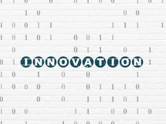 Business concept: Innovation on wall background - stock illustration