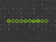 Finance concept: Innovation on wall background - stock illustration