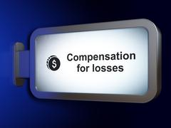 Banking concept: Compensation For losses and Dollar Coin on billboard background Stock Illustration