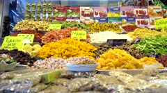 Selection of dry fruits and nuts Stock Footage