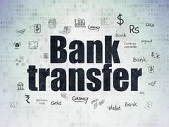 Money concept: Bank Transfer on Digital Data Paper background - stock illustration