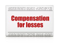 Money concept: newspaper headline Compensation For losses Stock Illustration