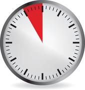 Clock with red 5 minute deadline Stock Illustration