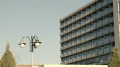 4K hotel apartments facade Stock Footage