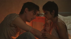 4K Drug addict couple in gloomy apartment taking heroin together Stock Footage