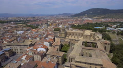 Aerial above Old Town buildings in Pamplona, Spain Stock Footage