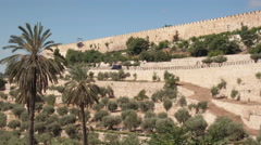 The walled old city of Jerusalem Stock Footage