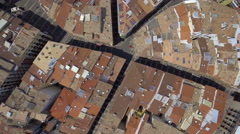 Aerial view of narrow streets and Old Town building in Pamplona, Spain Stock Footage