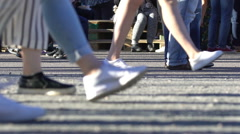 A lot of people on the streets of a big city at rush hour. Slow motion. Stock Footage