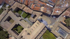 Aerial top view of narrow streets and Old Town buildings in Pamplona, Spain Stock Footage