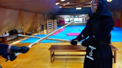Kendo Master shows the fatal blow. Stock Footage