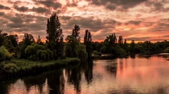 Time Lapse Cloudy Sunset At The Serpentine In Hyde Park, London Stock Footage
