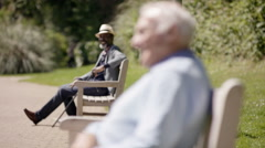 4K Senior gents relaxing in the park on a sunny day, focus on man in foreground Stock Footage
