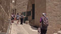 Jerusalem, Israel-June 6, 2016: Life on the streets of Jerusalem during a hot Stock Footage
