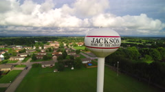 Small town water tower descent - Jackson Stock Footage